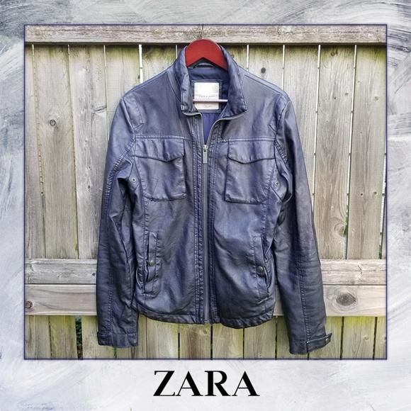 1ac5ea21 Zara Jackets & Coats | Man Faux Leather Navy Blue Jacket | Poshmark